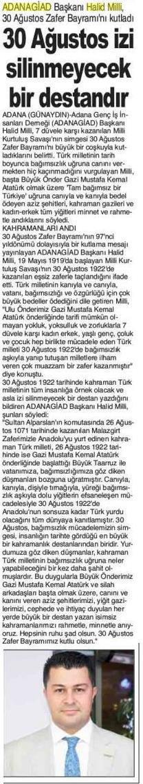 ADANA GÜNAYDIN - 30 AĞUSTOS İZİ SİLİNMEYECEK BİR DESTANDIR